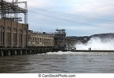 Conowingo floodgates - High water at Conowingo Hydroelectric...