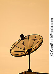 home TV antenna satellite on a background sky