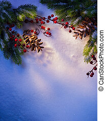 art Blue snow Christmas background, frame of fir branches -...