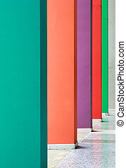Colorful hallway with different color wall