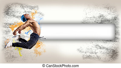 dancer, on an abstract background. collage - Dancer jumping...