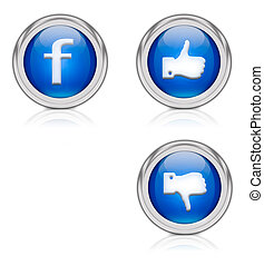 FB - blue circular icons with thumbs up or down