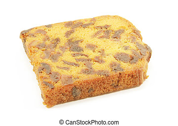 Fruitcake baked traditionally and isolated on a white...