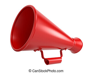 Red Megaphone Isolated on White - Red Megaphone or Bullhorn...