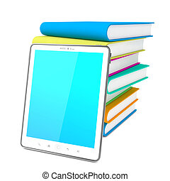Tablet PC with Books. Education Concept