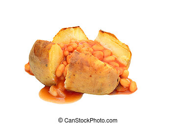 Jacket potato with baked beans isolated on white