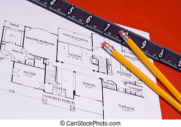 Ruler and pencils on house floorplan - Ruler on yellow...
