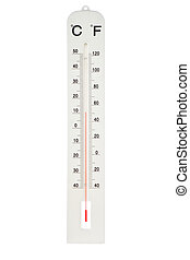 Atmospheric plastic thermometer On a white background