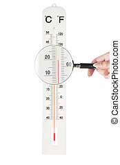 Atmospheric thermometer checked loupe for accuracy. On a white background.