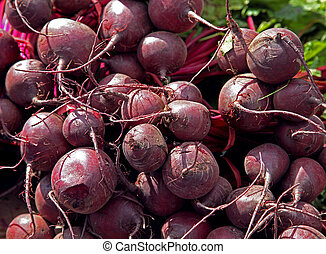 Organic beetroot - Pile of fresh organic beetroot for sale...
