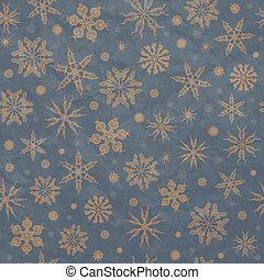 Beige snowflakes on a blue background.