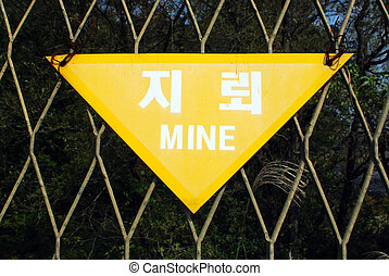 Explosive Mines North Korea - Sign: Explosive Mines North...