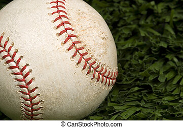 Baseball on Grass close up