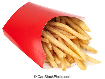 French fries in paper pack isolated