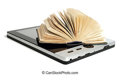 Old book with new e-reader - Old and new technology. Old...