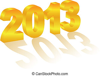 2013 New Year 3 Dimensional Gold Numeral