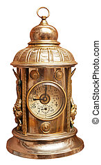 Antique brass clock isolated on white Clipping path included...
