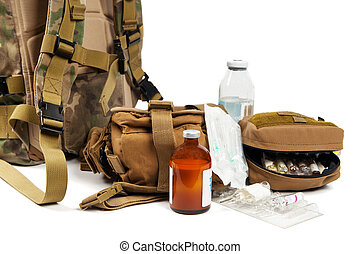 Military aid kit isolated on white