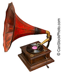 Vintage gramophone with red horn Clipping path included