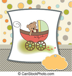 funny teddy bear in stroller, baby announcement card