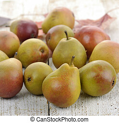 Pears - Fresh Ripe Pears On Wooden Background