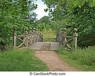 The Chinese bridge in the grounds of Wimpole Hall - The...