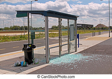 Vandalised bus stop on the Cambridgeshire guided bus way,...