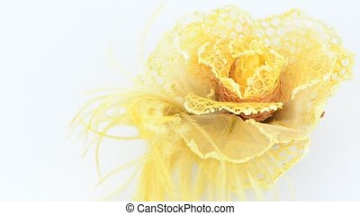 Yellow fabric flower