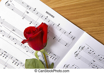 Sheet Music with Rose - Sheet music with rose piano