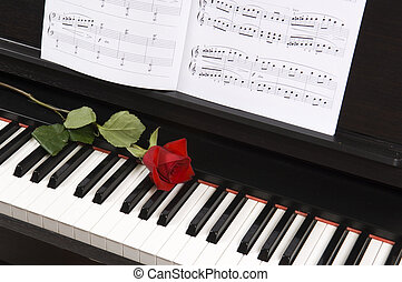 Sheet Music with Rose on piano - Sheet music with rose piano