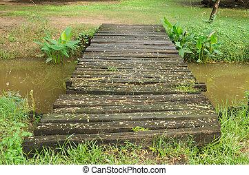 Small bridge across a stream in the park