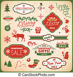 christmas and new year decoration elements - collection of...