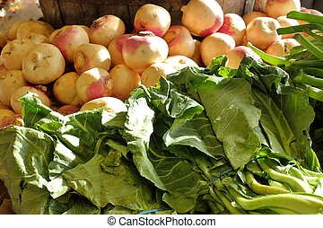 Collard greens and turnips - Freshly cut, raw, collard...