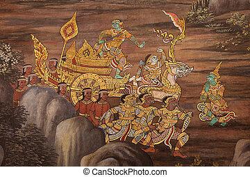 Beautiful Scene Painted at Grand Palace, Bangkok, Thailand