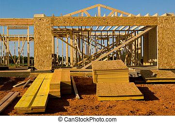 casa, construção, sob