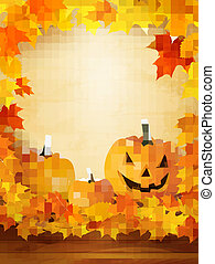 Pumpkin background with leaves.