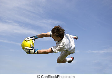 Soccer - Football Goal Keeper Making Save - Soccer -...