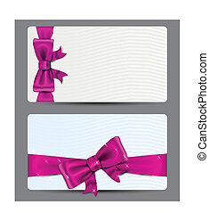 Gift cards with fuchsia bow. - .Blank gift backgrounds with...