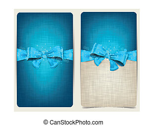 Linen cards with blue bow.