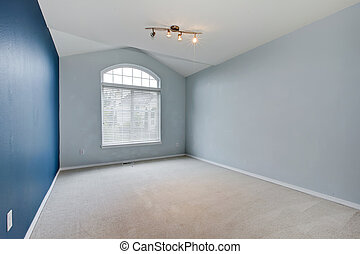Blue large empty room with carpet and vaulted ceiling. -...
