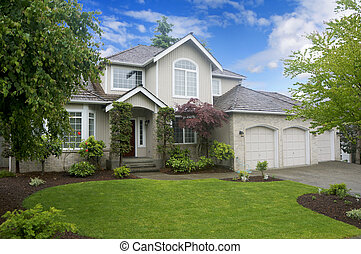 clássicas, casa, garagem, três, grande, americano,  car