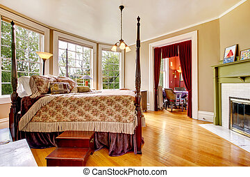 Large historical Inn room interior - bedroom with antique...