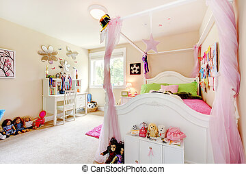 Baby girl room interior with white bed and pink curtains -...