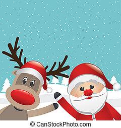 santa reindeer wave