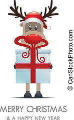 reindeer christmas gift with red ribbon - reindeer christmas...