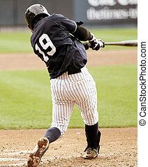 baseball player swinging, left-hand