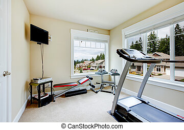 Home gym with equipment, weights and TV. - Home gym with...