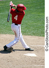 baseball player swinging, right handed batter