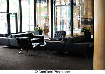 luxury hotel lobby interior with modern furniture