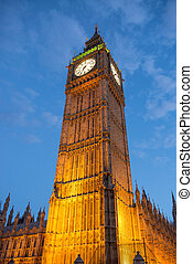 Lights of Big Ben at Dusk with blurred moving cloud - London